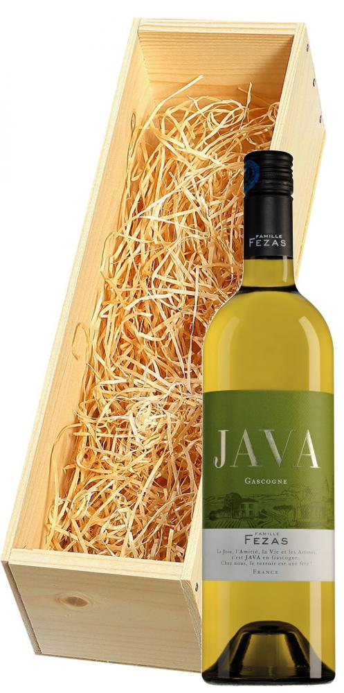 Wijnkist met Famille Fezas Gascogne Java blanc
