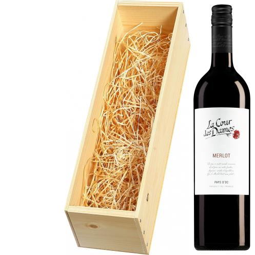 Wijnkist met La Cour des Dames Pays d'Oc Merlot