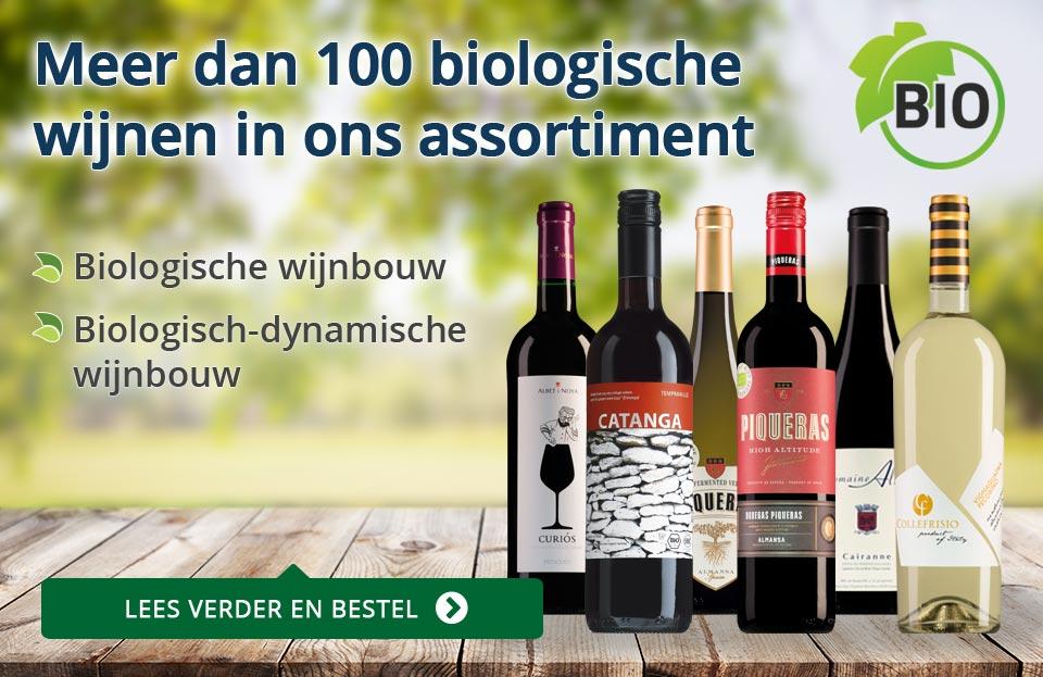 Meer dan 100 biowijnen in ons assortiment - blauw