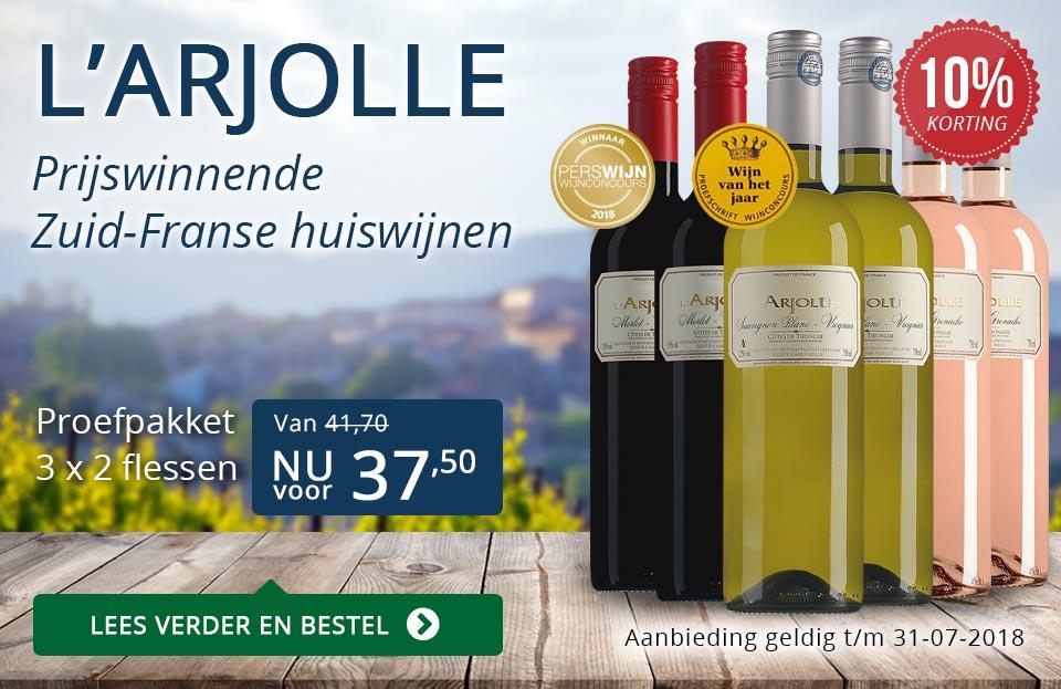 L'Arjolle prijswinnende huiswijnen juli 2018 - blauw