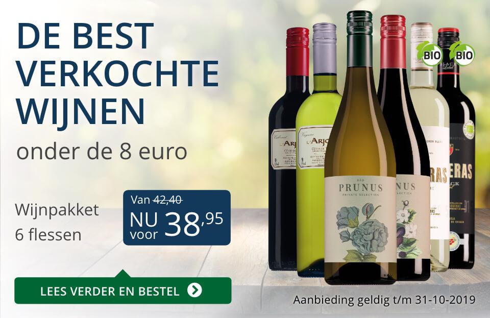 Wijnpakket best verkochte wijnen onder de 8 euro (38,95) - blauw