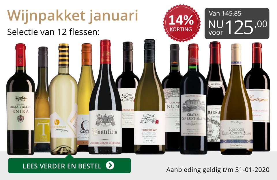 Wijnpakket wijnbericht januari 2020 (125,00) - grijs/goud