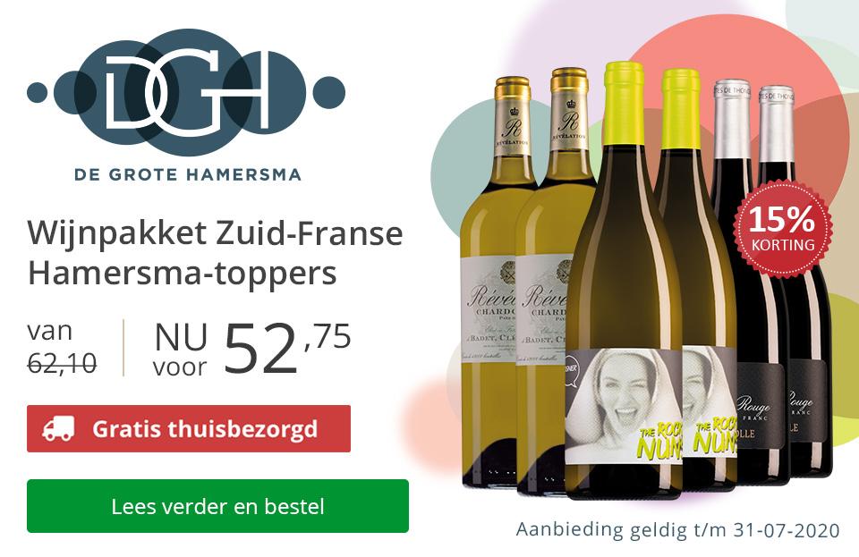 Wijnpakket Zuid-Franse Hamersma-toppers (52,75) - met gratis bezorging